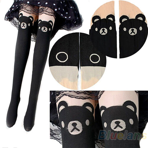 GIRLS CUTE TEDDY PRINT SOCKS BEAR THIGH-HIGH TAIL TATTOO TIGHTS PANTYHOSE B89K