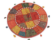 Patchwork Vintage Embroidery Cushion Round Big Floor Seating India Pillow 24in