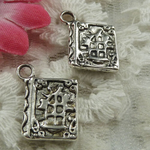Free Ship 60 pieces Antique silver book charms 17x13mm #1744