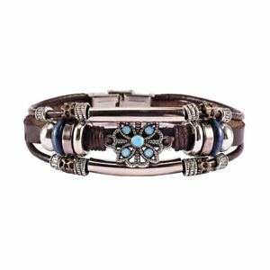 Multilayer-Leather-Bracelet-Handmade-Men-Women-Wristband-Bangle-Metal-Buckle-New