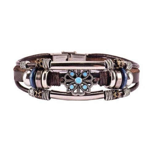 Multicouche Bracelet Simili Cuir Fait Main Hommes Femmes Bracelet Gourmette Boucle en Métal NEUF