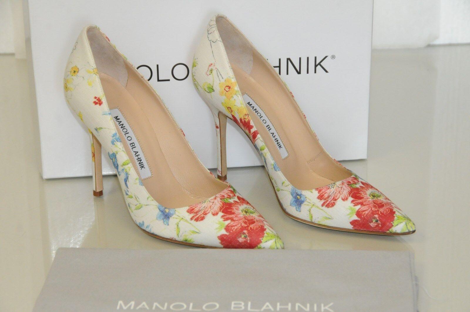 New Floral MANOLO BLAHNIK BB 105 Flower Floral New ROT blau Cream schuhes 36.5 38 39.5 41.5 eaeca4