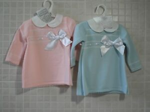 4d074ffff PEX Spanish Style Baby Girl Knitted Dress Ribbon Bow Pink Blue 6-9 ...