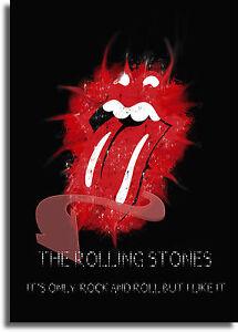 2019 Nouveau Style Les Rolling Stones Lèvres Logo Encadrée Toile Géante Sur Imprimer-a0 A1 A2 A3 A4 Tailles-afficher Le Titre D'origine Large SéLection;