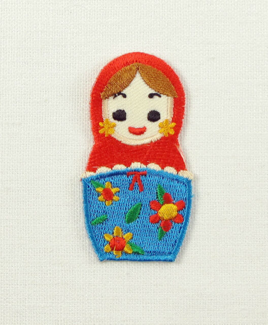 RUSSIAN DOLL Small Embroidered Iron Sew On Patch