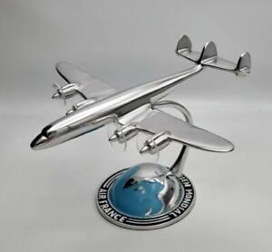 Maquette Super G Constellation en Aluminium Poli sur Demi-globe AIR FRANCE