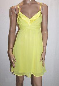 TEMT-Brand-Yellow-Chiffon-Babydoll-Dress-Size-8-XS-BNWT-Si96