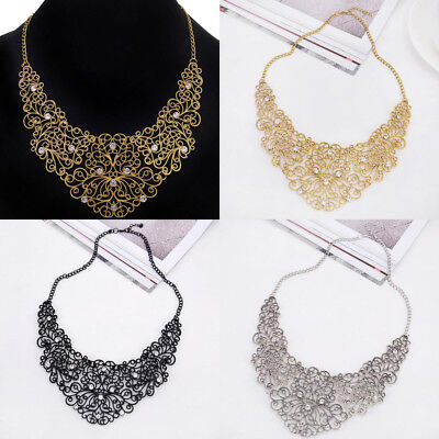 Fashion Charm Crysta Pendant Chain Gold Silver Colour Choker Statement Necklace