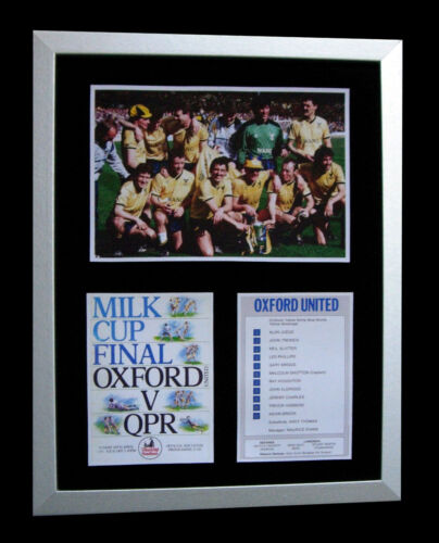 OXFORD UNITED WIN MILK CUP 1986 LIMITED Numbered FRAMED+EXPRESS GLOBAL SHIPPING