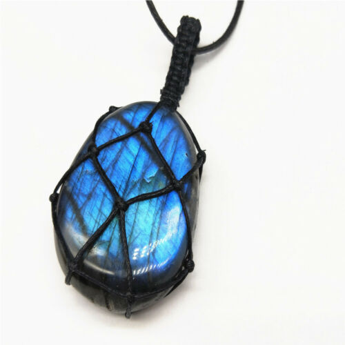 Natural Labradorite Moonstone Pendant Knit Rope Necklace Healing Jewelry Gifts