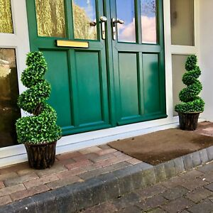 2 X New Beautiful Artificial Topiary Trees Weighted Pot Uv