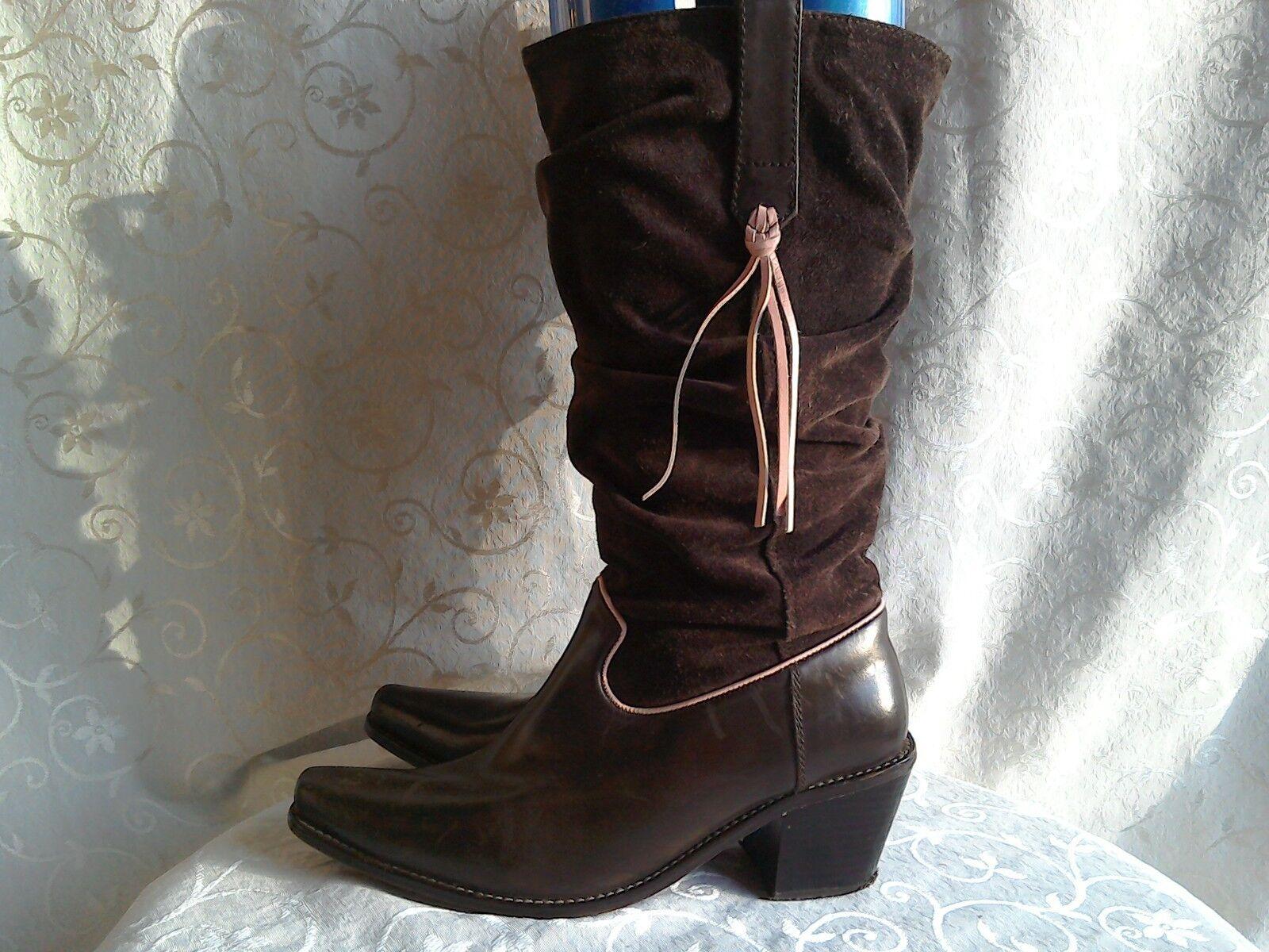 JONES BOOTMAKER Brown Suede cowboy Boots .. UK 3-4