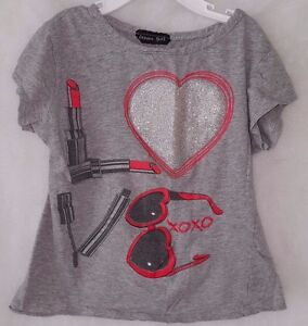 Dream-Girl-Girls-Red-Black-Gray-Make-Up-Heart-Shirt-Top-Blouse-Size-4T-OR-5T