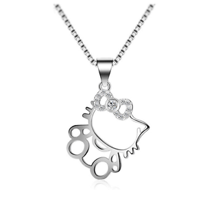 dd0b09907 Cat Kitten *Hello Kitty* 925 Sterling Silver Micro-inlay CZ Pendant ...