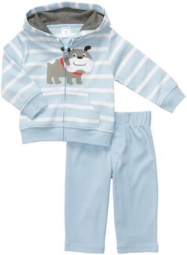 NEW NWT Carter/'s Light Blue Striped Bulldog Cardigan /& Pants Set Boys 24 months