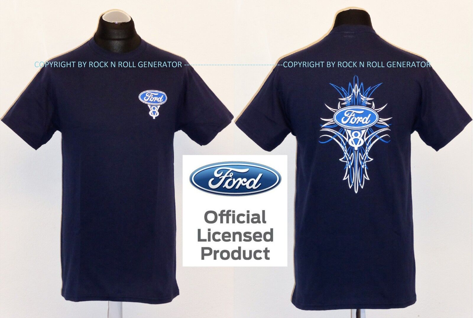 FORD V8 T-SHIRT - Pinstripe Licensed Product  Hot Rod Mustang F150 USA blue navy