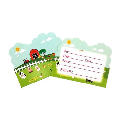 12pcs ferme vache cochon animaux THÈME INVITATION Carte Pour Enfants Enfants Fête D/'Anniversaire