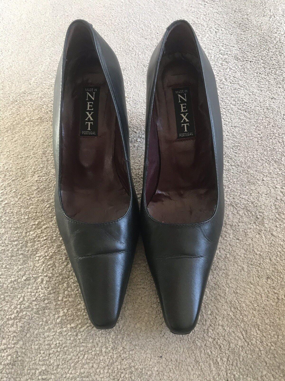 Women's Next Black Leather Court shoes Size 36.5   3.5