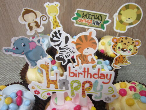 Animal Cupcake Toppers Picks Kids Baby Shower Party Birthday Jungle 9 PCS