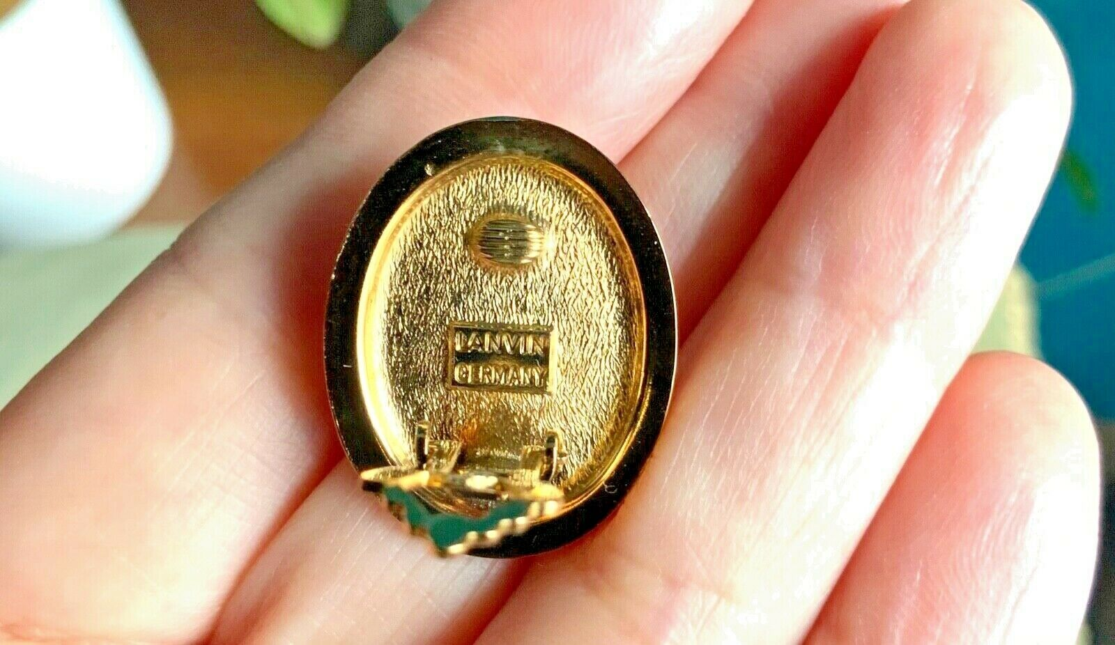 VINTAGE LANVIN CABOCHON EARRINGS BLACK STONE GOLD… - image 3