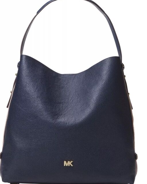 7aa262a9612a New Michael Kors Griffin Large Hobo Admiral Bag leather striped sides tote  Gold