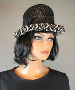 a055697f Raffia Bowler Hat S 6 3/4 Vintage 60s Black White Brown Shiny Straw ...