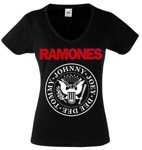 offizielle Fotos 45114 022f8 Details zu RAMONES LOGO damen lady T-shirt Shirt Rock Tee V-Ausschnitt