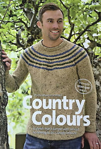 KNITTING-PATTERN-Mens-Jumper-Round-Neck-Striped-Collar-Debbie-Bliss-PATTERN