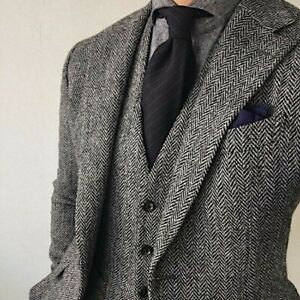 Gray Wool Herringbone Men's Suit Tweed Tuxedo Party Prom Vintage 3 Piece Suit