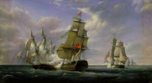 """Dream-art Oil painting Naval battle on the sea seascape hand painted 24""""x36"""" art"""