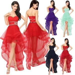 Details zu Asymmetrisch Party Cocktailkleid Abendkleid Ballkleid Tüll Rot  Lila Schwarz Grün