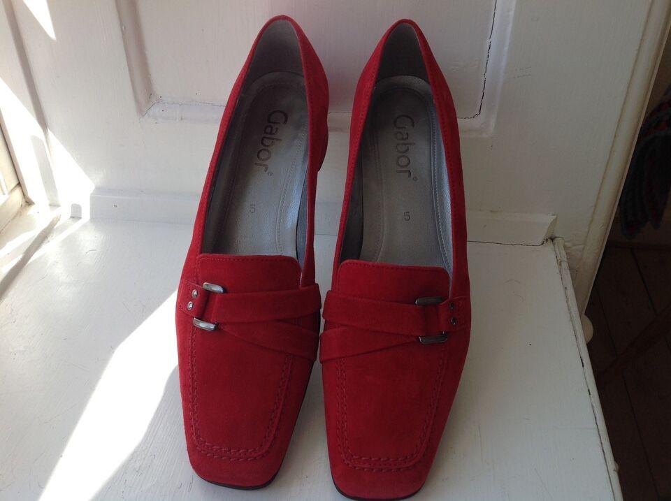 Gabor sko, rød ruskind, str 38