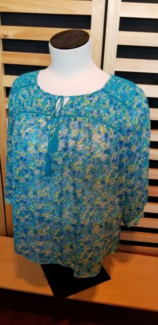 TWO BY VINCE CAMUTO WOMENS PLUS SZ 1X 3/4 SLEEVE PEASANT FLOWY TOP BLOUSE ! EUC!