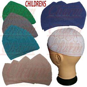7fd07b08421 Boys Childrens Kids Islamic Skull Head Cap Muslim Prayer Mosque Hat ...