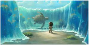 Disney-Fine-Art-Limited-Edition-Canvas-Moana-039-s-New-Friend-Rob-Kaz