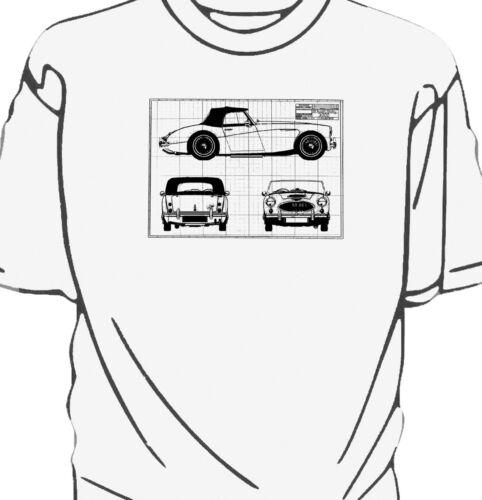 Austin Healey 3000 blueprint style t-shirt