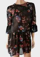 New with Tags John Zack London Floral Print Black Chiffon Tunic Top Size S/M M/L