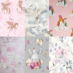 Girls-Kids-Unicorn-Wallpaper-Rainbow-Glitter-Sparkle-Magic-10m-Rolls