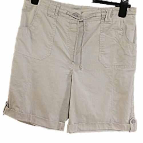 Ladies Pale Grey Short Rolled Hem Button Finish Drawstring Waist Pocket Shorts