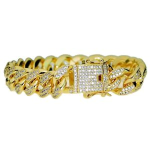8cfbd63cefaa4 Details about Mens 18k Gold Plated Cuban Bracelet Bling Hip Hop Iced AAAA  CZ 8