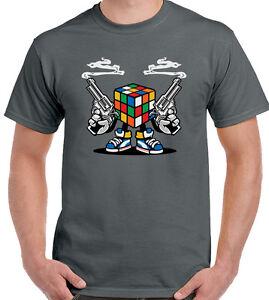Rubiks-KILLER-Da-Uomo-Divertente-T-shirt-Cubo-di-Rubix-Retro-Gioco-Puzzle-Sheldon-Cooper
