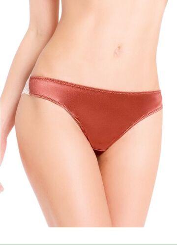 Women Panties Bikinis ILUSION Size M.Brown Garnet Satin/&floral Fishnet SoftSilky