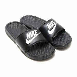 sports shoes 714f3 c5b9f Details about NIKE BENASSI JDI SLIDES SWOOSH SANDALS 343880-090 MENS SIZE  10 BLACK WHITE