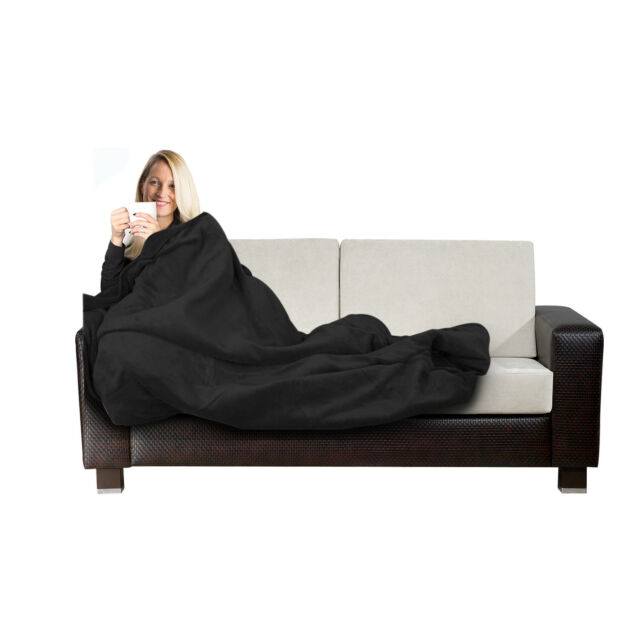 Electric Blanket Heated Throw Black Over Under Soft Mattress Fleece Bed Washable