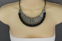 Women Antique Silver Necklace Metal Chain Black Bead Fashion Jewelry Vintage