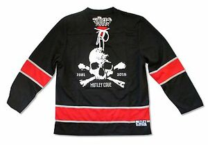 Motley-Crue-Skull-1981-2015-Mens-Black-Hockey-Jersey-Shirt-New-Official-Merch