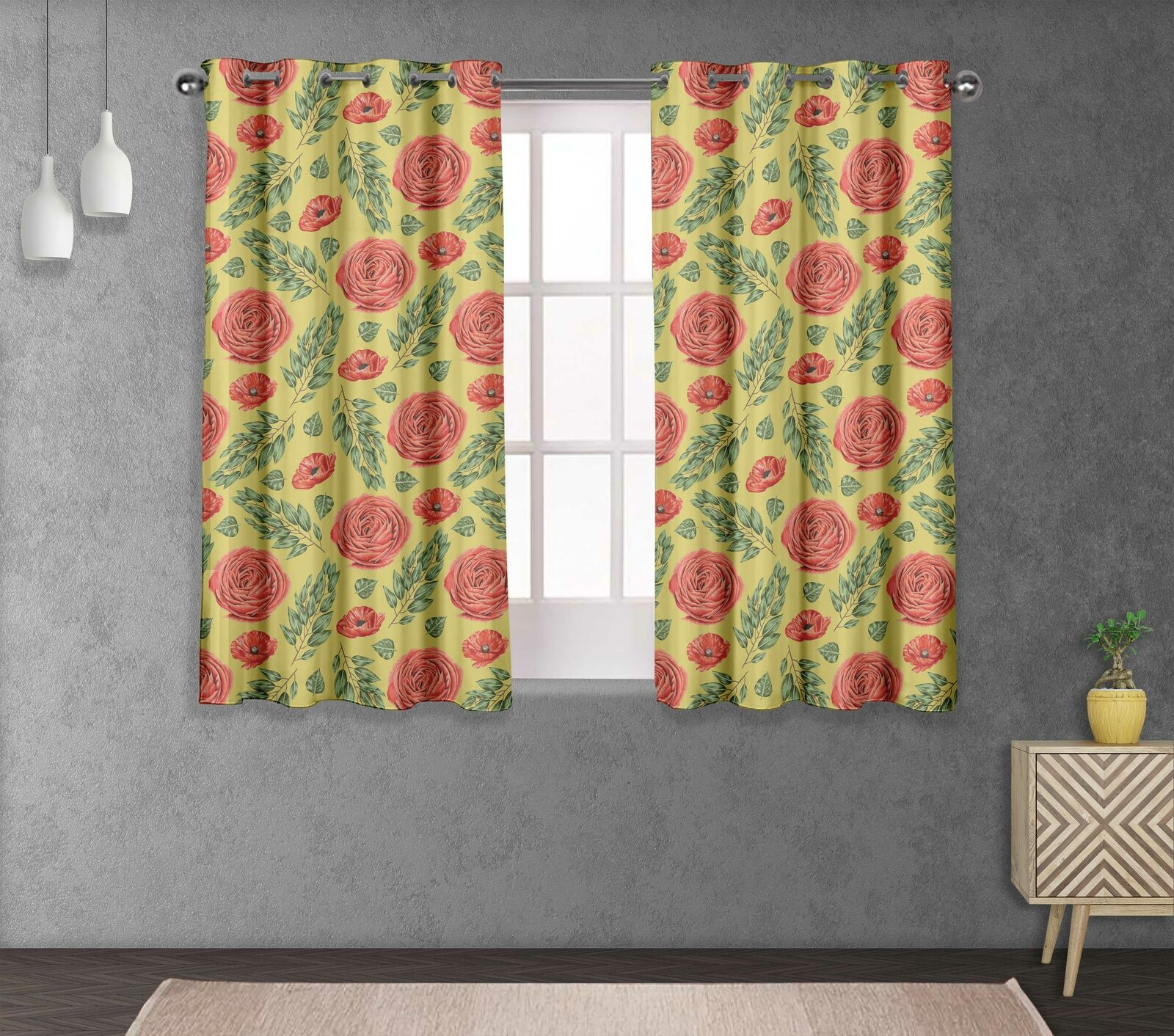 S4sassy Laurel Leaves & Camellias Home Decor short & long Curtain Panel-FL-863G