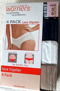 """NIB Women/'s Warner/'s 4pack No Pinch Panties /""""The Lace Hipster/"""" Size Small//5"""
