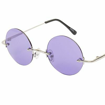 8bd917a9627 Details about John Lennon Inspired Circle Rimless 60s Mens Womens Purple  Lens Round Sunglasses