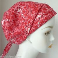 Cancer Chemo Hair Head Wrap Bad Hair Day Fitted Scarves Hat Red Floral Turban